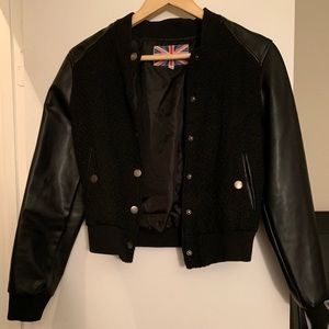 Faux Leather and Textured Bomber Jacket